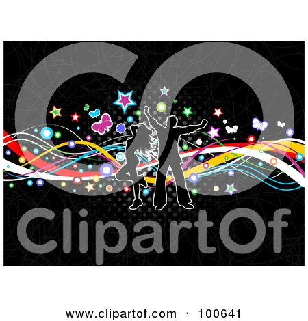Royalty-Free (RF) Clipart Illustration of a Silhouetted Couple Dancing Over Colorful Waves, Stars, Butterflies And Halftone On Black by KJ Pargeter