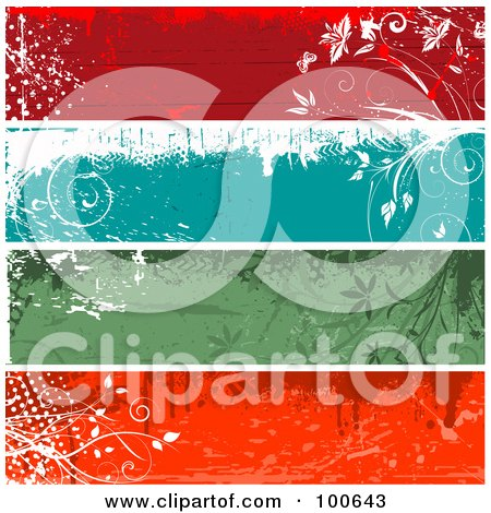 Royalty-Free (RF) Clipart Illustration of a Digital Collage Of Red, Blue And Green Grungy Floral Text Panels by KJ Pargeter