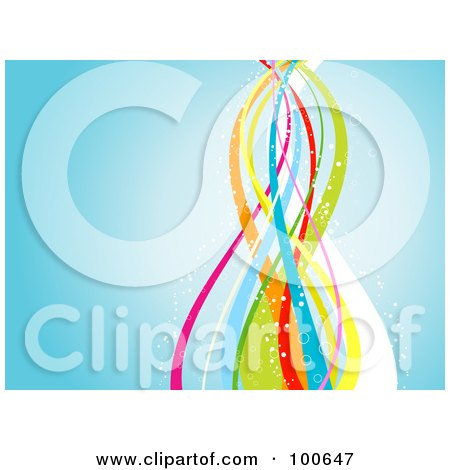 Royalty-Free (RF) Clipart Illustration of a Blue Background With Rainbow Ribbons And Bubbles by KJ Pargeter