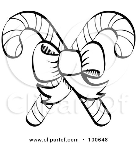 Royalty Free RF Clipart Illustration Of A Coloring Page Outline Of A Bow Tying Together Two Christmas Candy Canes