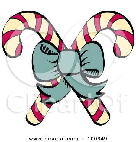 Royalty-Free (RF) Clipart Illustration of a Green Bow Tying Together Two Christmas Candy Canes by Andy Nortnik