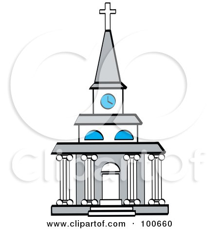 Royalty-Free (RF) Clipart Illustration of a Beautiful Church Facade With A Clock Tower And Columns by Andy Nortnik