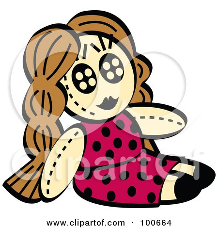 Royalty-Free (RF) Clipart Illustration of a Little Girl's Dol In A Pink Polka Dot Dress by Andy Nortnik
