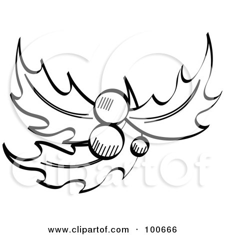 Royalty-Free (RF) Clipart Illustration of Three Holly Leaves With ...