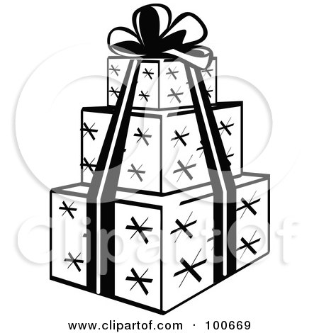 Wrapped Gifts Clipart Black And White