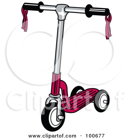 Royalty-Free (RF) Clipart Illustration of a Red Child's Scooter With Ribbons On The Handle Bars by Andy Nortnik