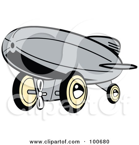 Royalty-Free (RF) Clipart Illustration of a Retro Gray Wind Up Toy Blimp by Andy Nortnik