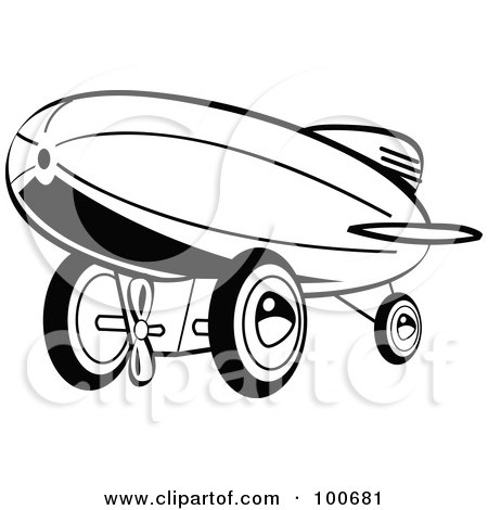 Royalty-Free (RF) Clipart Illustration of a Retro Black And White Wind Up Toy Blimp by Andy Nortnik