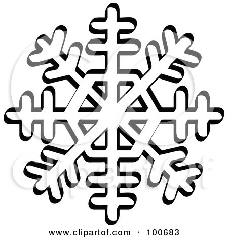 Royalty-Free (RF) Clipart Illustration of a Black And White Winter Snowflake