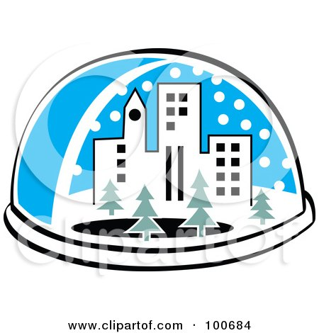 Royalty-Free (RF) Clipart Illustration of a Snow Globe With A City And Trees by Andy Nortnik