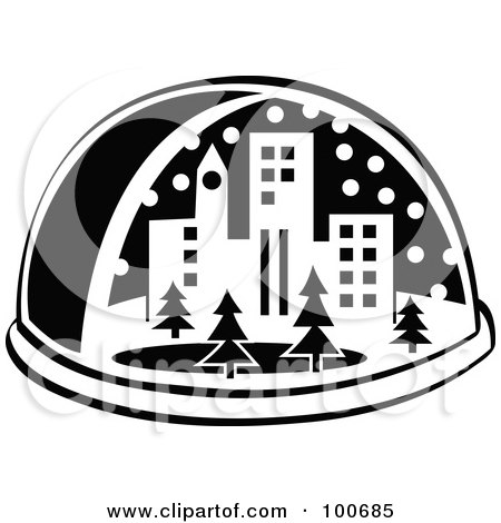 Royalty-Free (RF) Clipart Illustration of a Black And White Snow Globe With A City And Trees by Andy Nortnik