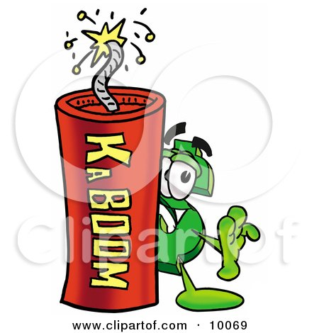 Clipart Picture of a Dollar Sign Mascot Cartoon Character Standing With a Lit Stick of Dynamite by Toons4Biz
