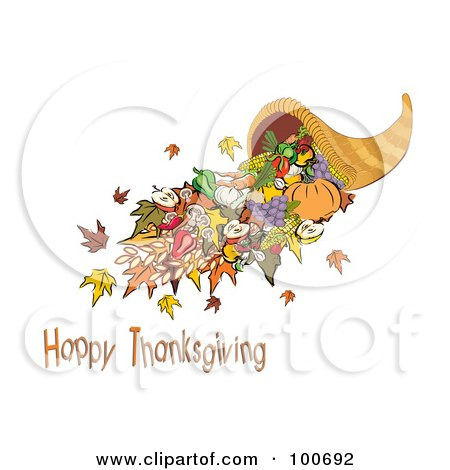 Royalty-Free (RF) Clipart Illustration of a Horn Of Plenty With Happy Thanksgiving Text by MilsiArt