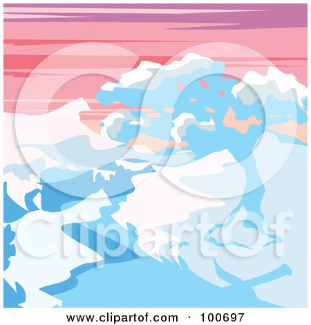Royalty-Free (RF) Clipart Illustration of a Snow Covered Tree And Mountains Against A Sunset by MilsiArt