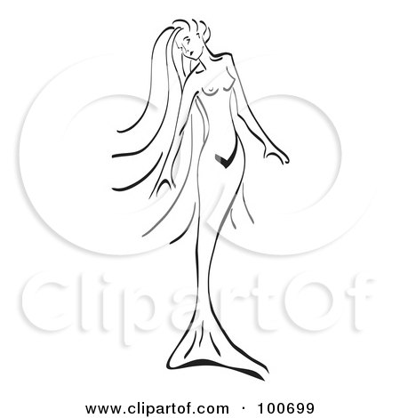 Tribal Mermaid Drawings Black And White Line Drawing