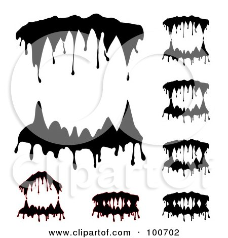 Royalty-free clipart picture of a digital collage of dripping vampire teeth,