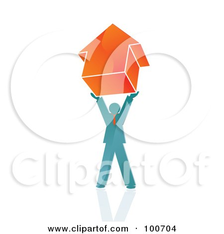 Royalty-Free (RF) Clipart Illustration of a Man Holding Up An Arrow Pointing Upwards by MilsiArt