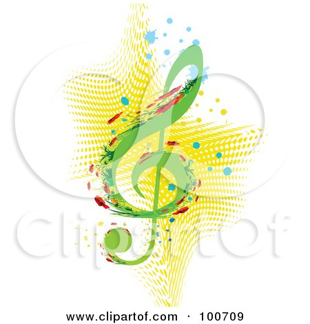 Royalty-Free (RF) Clipart Illustration of an Abstract Floral Music Note With Splatters Over Yellow Halftone by MilsiArt