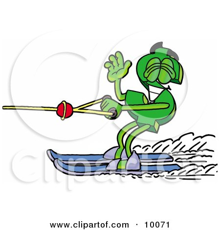 Clipart Picture of a Dollar Sign Mascot Cartoon Character Waving While Water Skiing by Toons4Biz