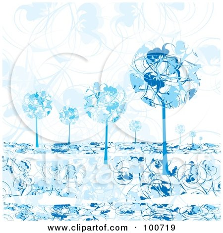 Royalty-Free (RF) Clipart Illustration of Rounded Blue Winter Trees Against A Floral Background by MilsiArt