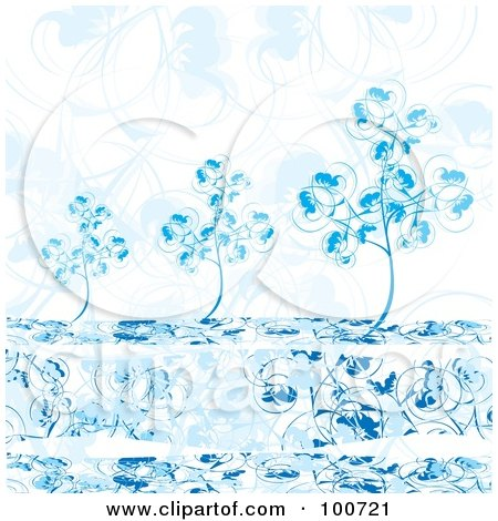 Royalty-Free (RF) Clipart Illustration of Blue Winter Trees Against A Floral Background by MilsiArt