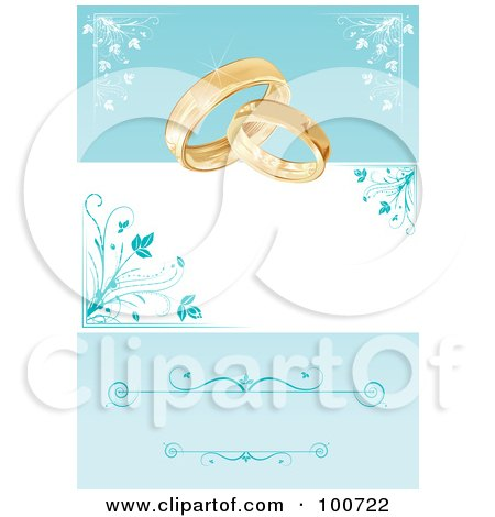 Royalty-Free (RF) Clipart Illustration of a Wedding Card Invitation With Rings And A Blue Floral Background by MilsiArt