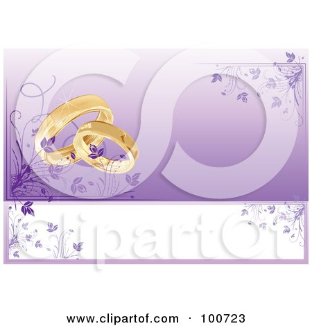 Royalty-Free (RF) Clipart Illustration of a Wedding Card Invitation With Rings And A Purple Floral Background by MilsiArt