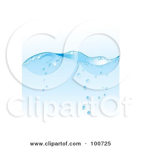 Royalty-Free (RF) Clipart Illustration of a Blue Water Wave Background With Rising Bubbles by MilsiArt