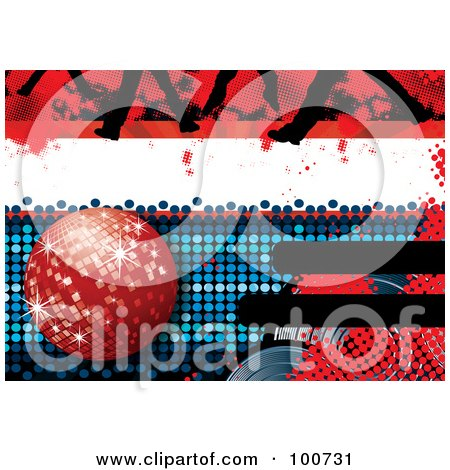 Royalty-Free (RF) Clipart Illustration of a Disco Party Background With A Red Disco Ball, Feet And Halftone by MilsiArt