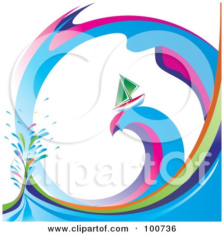 Royalty-Free (RF) Clipart Illustration of a Green Sailboat Sailing On A Rainbow Swirl Wave by MilsiArt