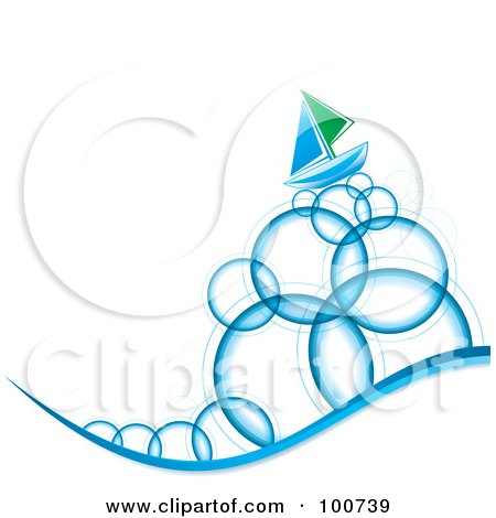 Royalty-Free (RF) Clipart Illustration of a Blue And Green Sailboat Sailing On Bubble Waves by MilsiArt