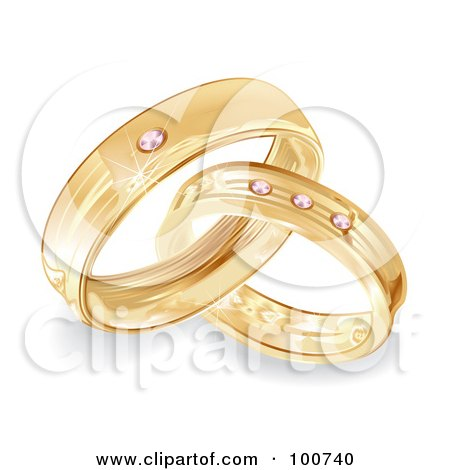 Royalty-Free (RF) Clipart Illustration of a Golden Bride And Groom Wedding Rings With Diamonds by MilsiArt