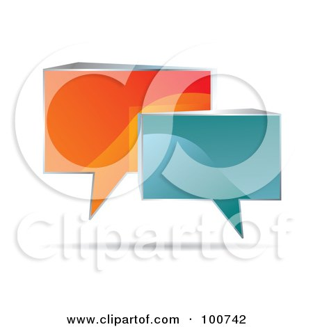 Royalty-Free (RF) Clipart Illustration of Shiny 3d Orange And Blue Speech Clouds by MilsiArt