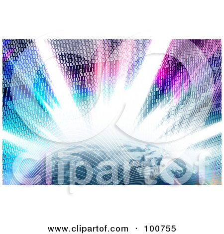 Royalty-Free (RF) Clipart Illustration of a Bright Burst Of Binary Code Emerging Behind The Earth by Arena Creative