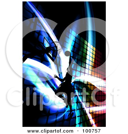 Royalty-Free (RF) Clipart Illustration of a Silhouetted Basketball Player Jumping Towards A Hoop Over A Colorful Fractal Background by Arena Creative