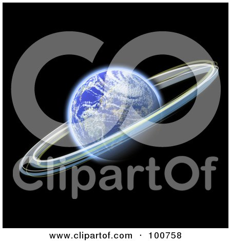 Royalty-Free (RF) Clipart Illustration of a 3d Blue Planet With Rings Circling Around It by Arena Creative
