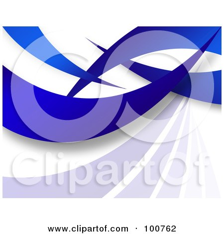 Royalty-Free (RF) Clipart Illustration of a 3d Background Of Blue Swooshes On White by Arena Creative