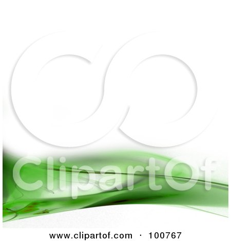 Royalty-Free (RF) Clipart Illustration of a White Background With A Green Fractal Border by Arena Creative