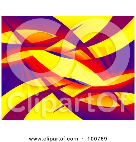 Royalty-Free (RF) Clipart Illustration of a 3d Background Of Colorful Swooshes On Yellow by Arena Creative