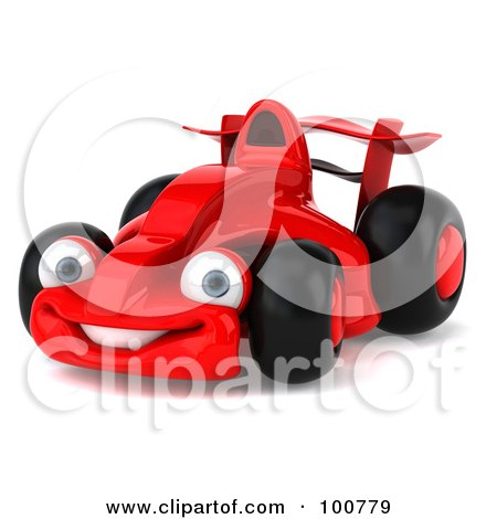Royalty-Free (RF) Clipart Illustration of a 3d Red Formula One Race Car Smiling by Julos