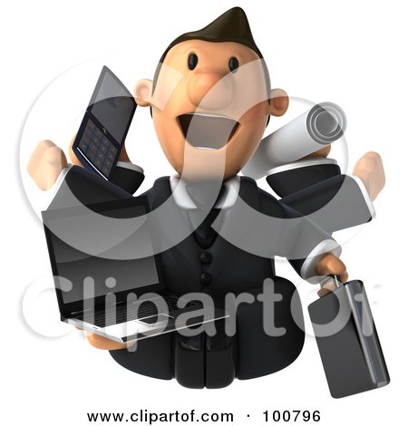 Royalty-Free (RF) Clipart Illustration of a Multi Tasking 3d Toon Guy With A Laptop, Cell Phone, Plans And Briefcase by Julos