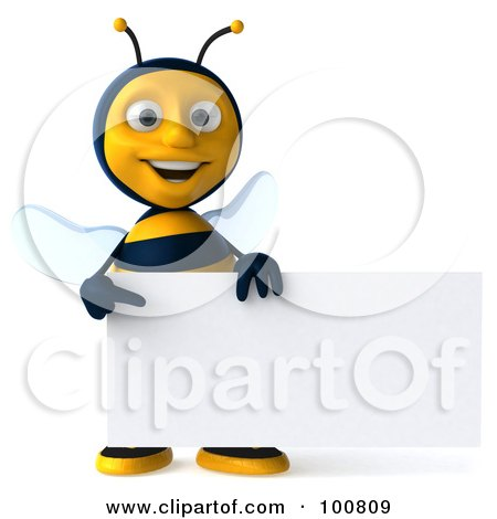 Royalty-Free (RF) Clipart Illustration of a 3d Bee Character Facing Front With A Sign by Julos