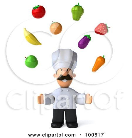 Royalty-Free (RF) Clipart Illustration of a 3d Chef Man Facing Front And Juggling Produce by Julos