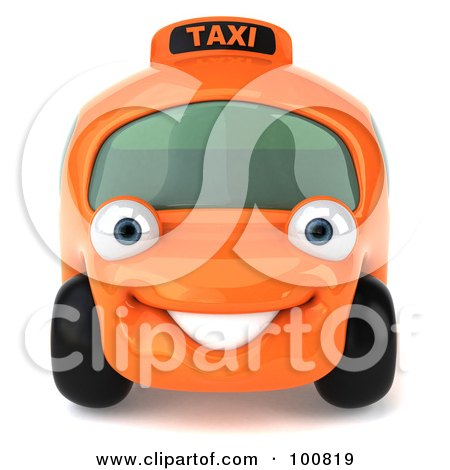 Royalty-Free (RF) Clipart Illustration of a 3d Orange Taxi Cab Character Facing Forward by Julos
