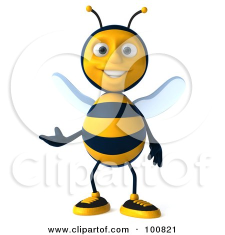 Royalty-Free (RF) Clipart Illustration of a 3d Bee Character Facing Front And Gesturing by Julos