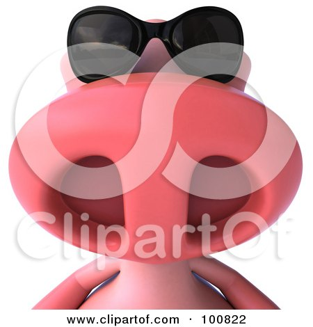 Royalty-Free (RF) Clipart Illustration of a 3d Pookie Pig Character Wearing Shades by Julos