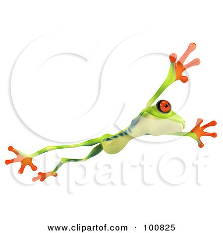 Royalty-Free (RF) Clipart Illustration of a 3d Argie Frog Facing Right And Leaping by Julos