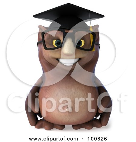 Royalty-Free (RF) Clipart Illustration of a 3d Owl Professor Facing Forward And Smiling by Julos
