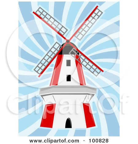 Royalty-Free (RF) Clipart Illustration of a Red And White Windmill In Blue Swirling Wind by mheld