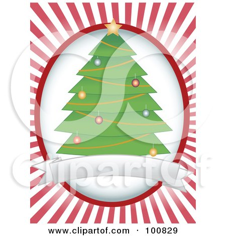 Royalty-Free (RF) Clipart Illustration of a Trimmed Christmas Tree Label Over A White Oval And Red Rays by mheld